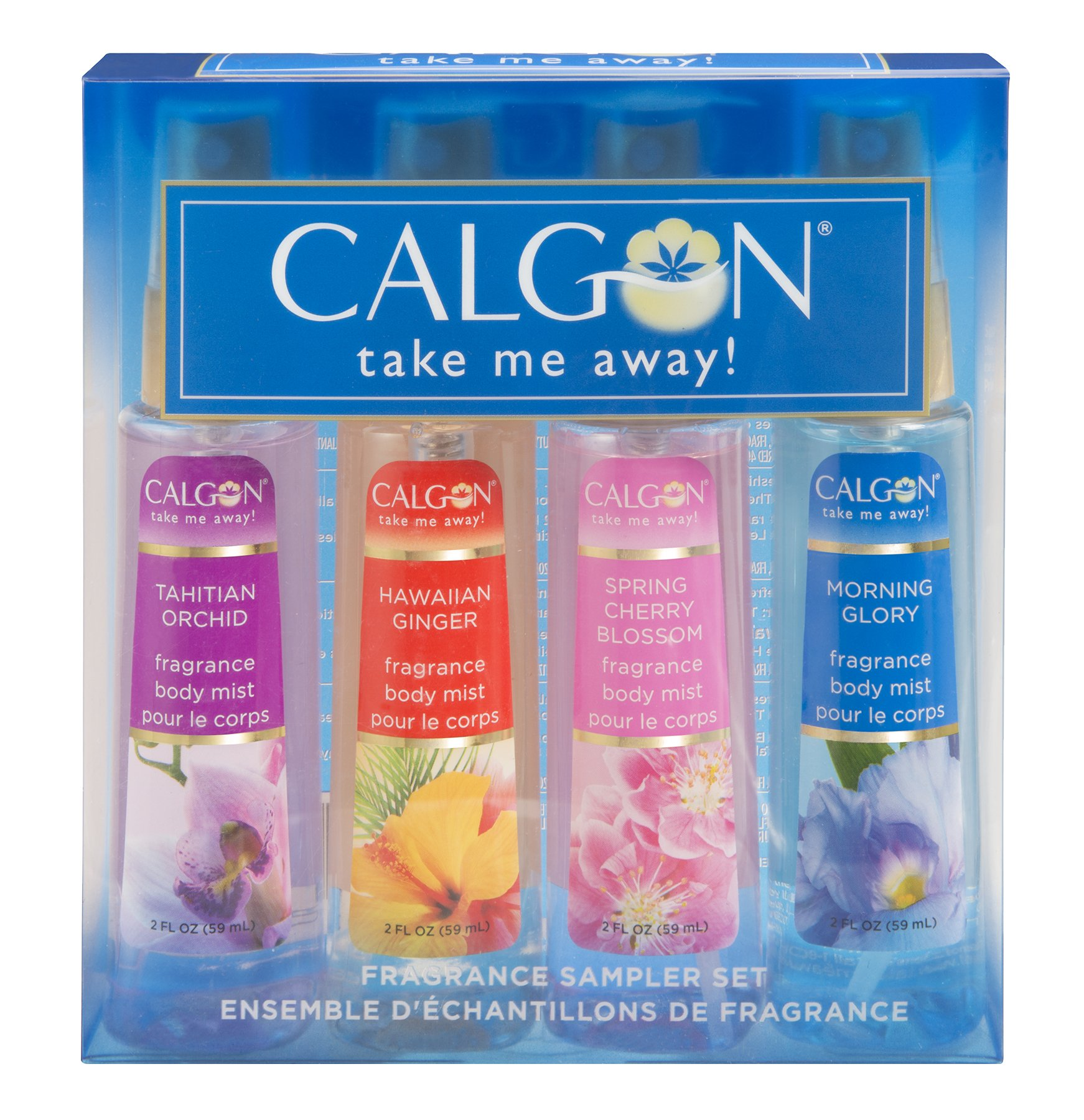 Calgon Take Me Away 4 Pc Gift Set (Refreshing Body Mist 2.0 Oz Of Spring Cherry Blossom Hawaiian Ginger Morning Glory Tahitian Orchid) for Women By 2 Fl Oz