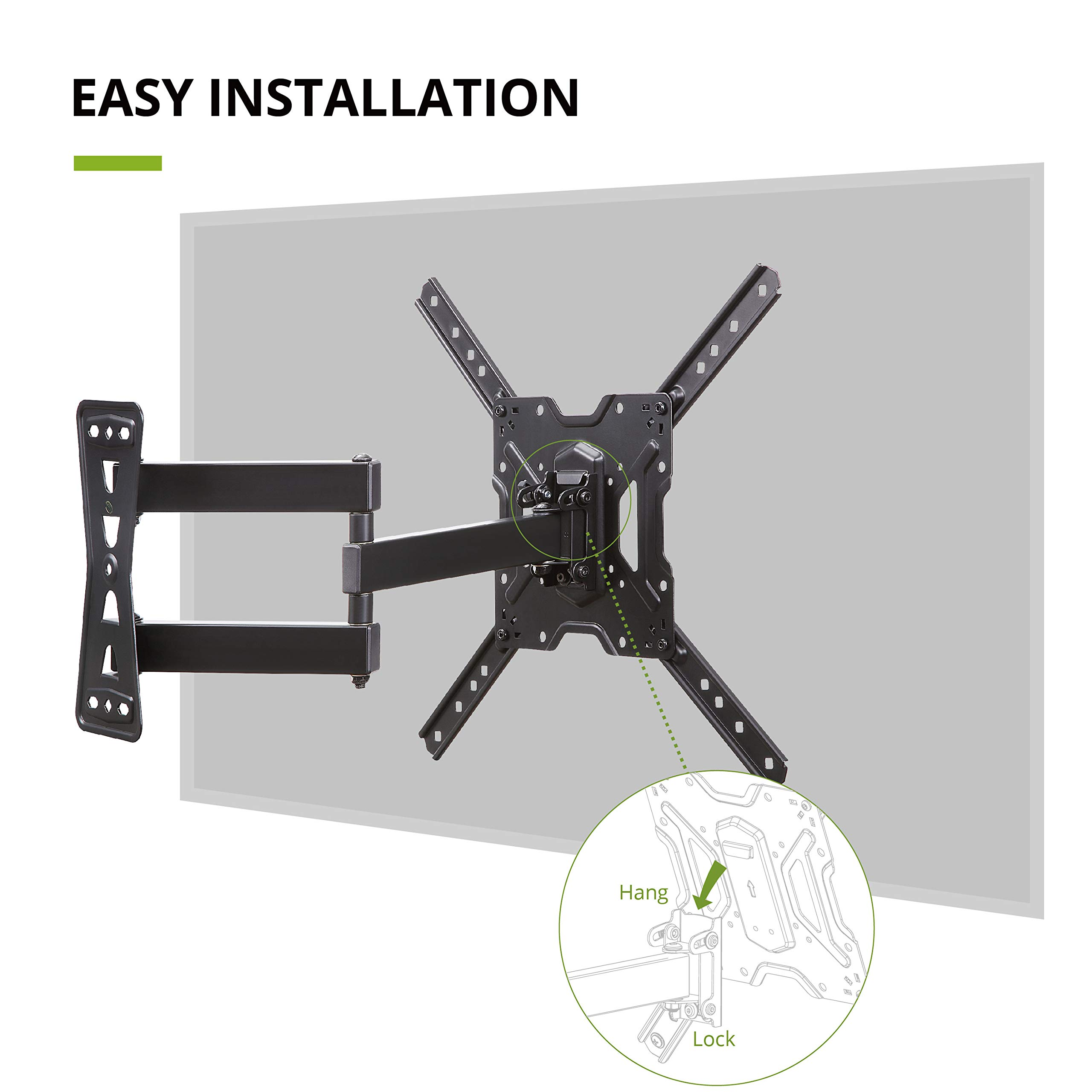 USX MOUNT Full Motion Swivel Articulating Tilt TV Wall Mount Bracket for 26-55'' LED, OLED, 4K TVs-Fit for 32, 40, 50 TV with VESA Up to 400x400mm-Weight Capacity Up to 60lbs by USX MOUNT (Image #6)