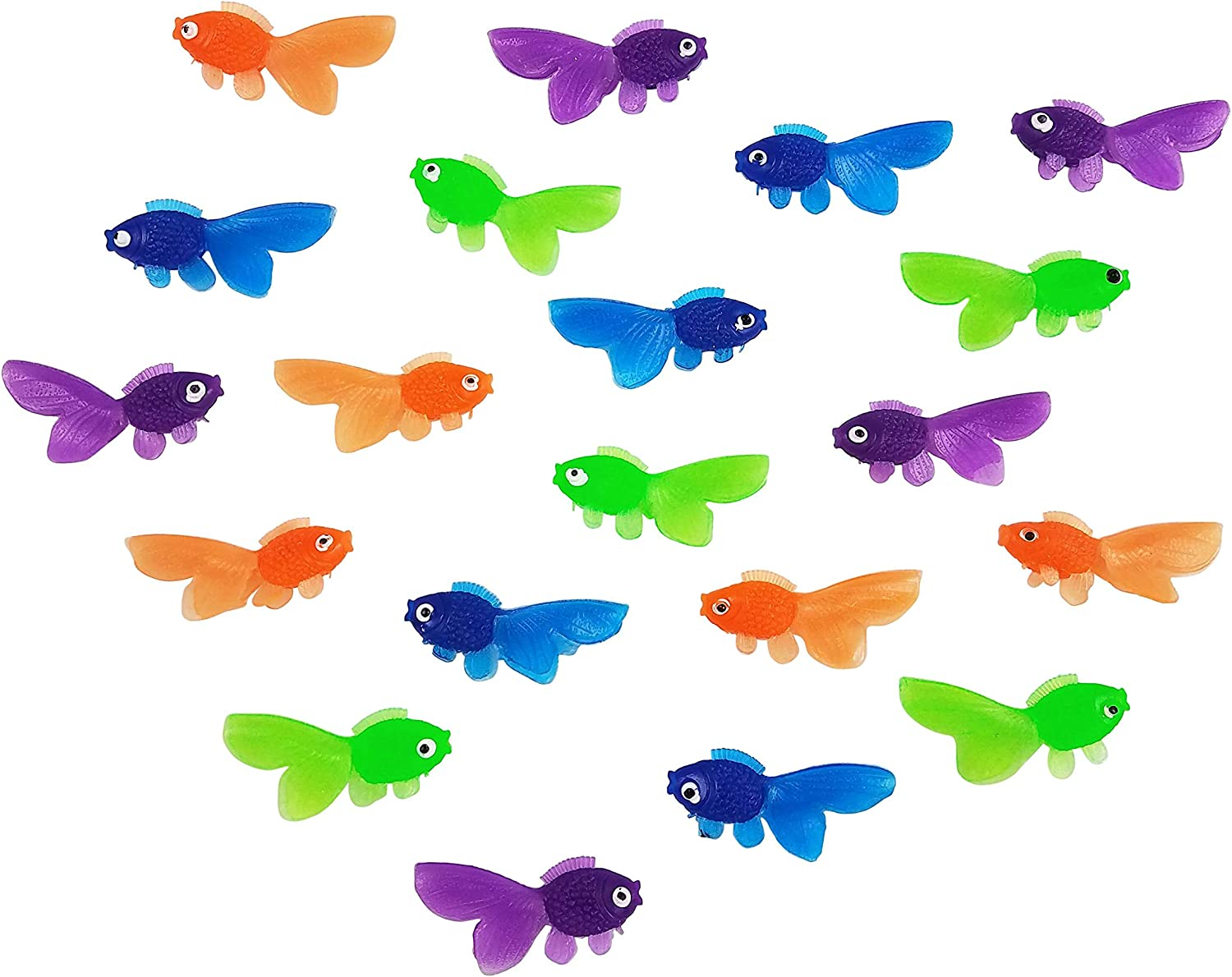 Funeez Plastic Fish Toys Great Fish Party Favors Educational Vinyl Toys for Kids Pack Of 144 Colorful Vinyl Goldfish Toy Fish in Assorted Colors