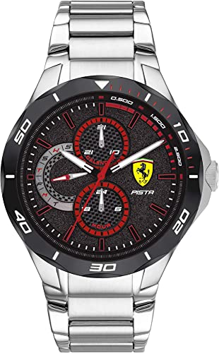 Amazon Com Scuderia Ferrari Men S Pista Quartz Watch With Stainless Steel Strap Silver 25 Model 0830726 Watches