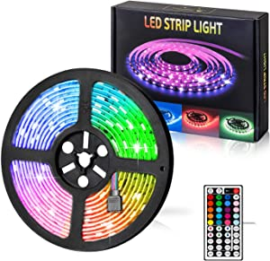Sanlinkee LED Strip Lights, 16.4ft Flexible Color Changing SMD 5050 RGB LED Tape Lights with 44 Key Remote Controller for TV, Bedroom, Party Kitchen, Desk and Home Decora