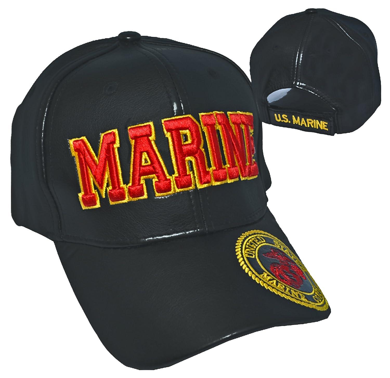 ca6699cea25 Buy Caps and Hats US Marine Cap Black Leather United States Marine Corps  Emblem USMC at Amazon Men s Clothing store