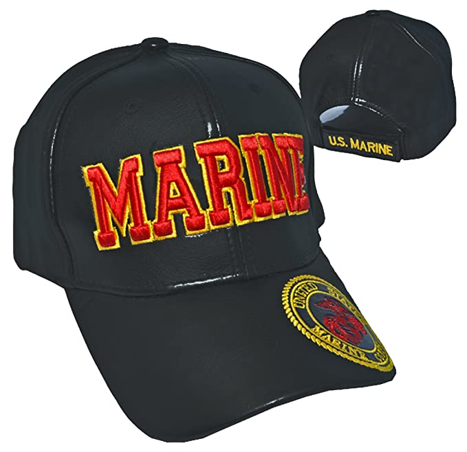 50e898209fae4 Image Unavailable. Image not available for. Color  Buy Caps and Hats US  Marine Cap Black Leather United States Marine Corps Emblem USMC