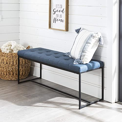 Walker Edison Furniture Company Modern Tufted Upholstered Entryway Cushion Hallway Metal Bedroom Bench Ottoman, Blue