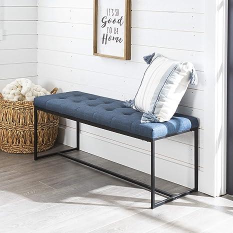 Amazon Com Walker Edison Modern Tufted Upholstered Entryway Cushion Hallway Metal Bedroom Bench Ottoman Blue Furniture Decor