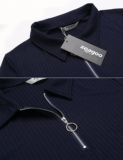 Zeagoo Damen Polo-Kleid Enges Kleid Shirtkleid Partykleid mit Reißverschluss  Etuikleid Blusenkleid Hemdkleid Knielang Casual Stretch  Amazon.de   Bekleidung d3ebabc396