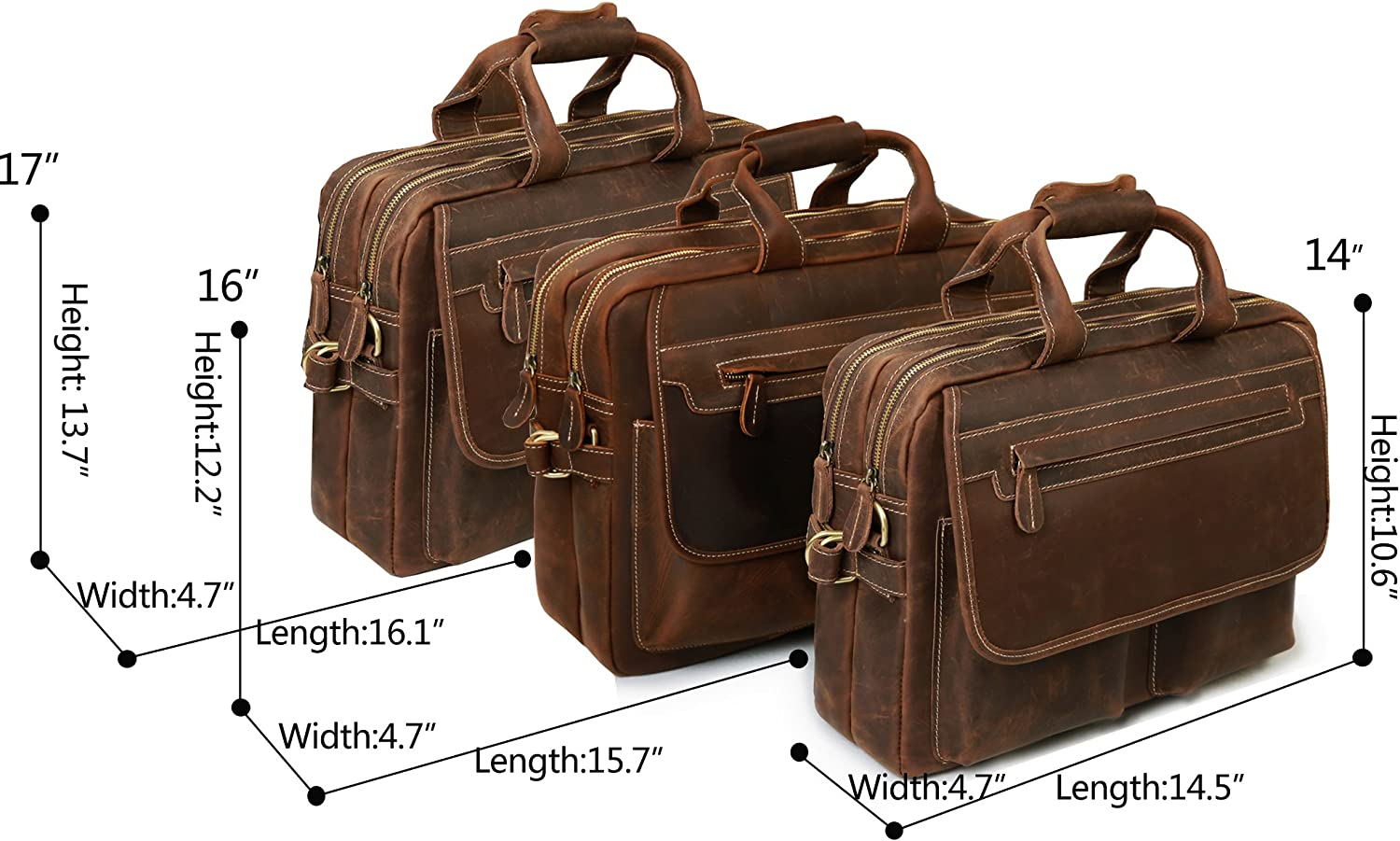 Men Top Grade Thick Leather Briefcase 15 Laptop Cow Leather Bag Removalble PC Sleeve Shiny Business Bag Tote brown
