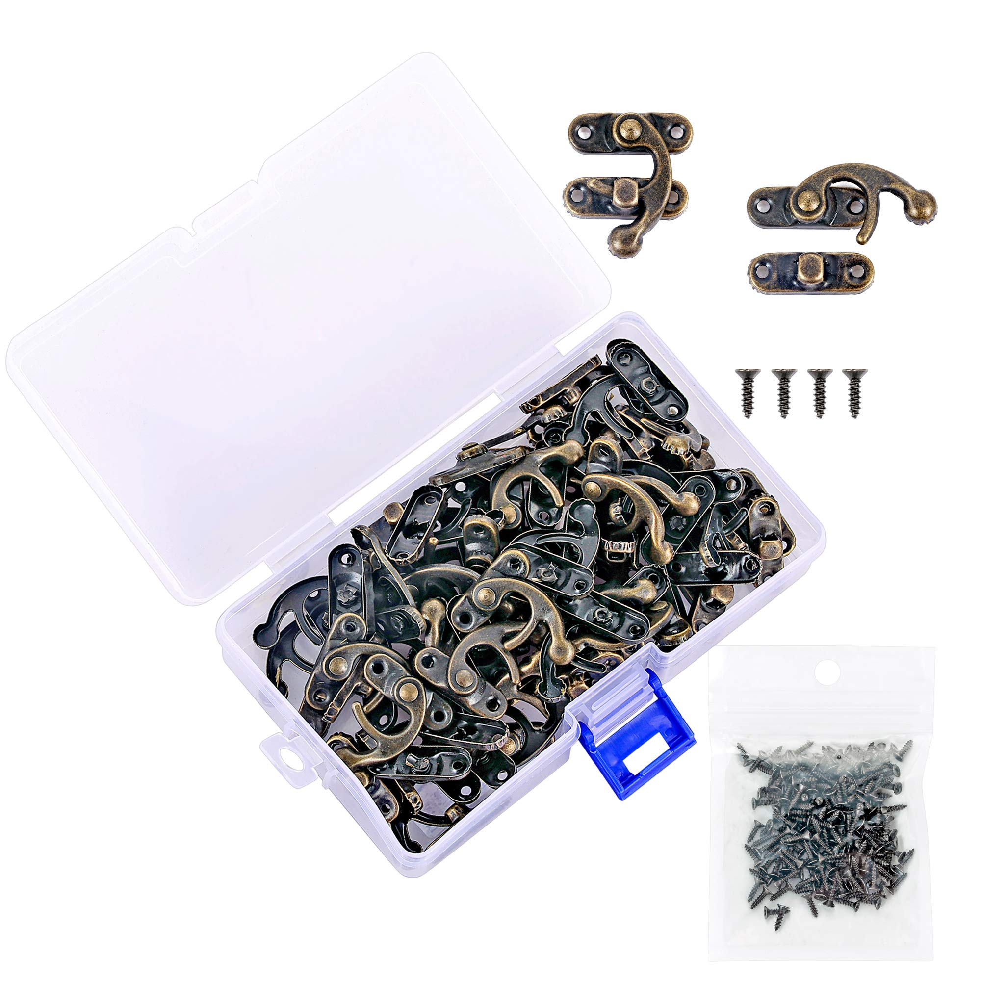 PGMJ 40 Pieces Bronze Tone Antique Right Latch Hook Hasp Horn Lock Wood Jewellery Box Latch Hook Clasp and 160 Replacement Screws (Right Latch Buckle)