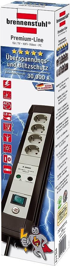 Brennenstuhl Premium Line Überspannungsschutz Steckdosenleiste 4 Fach Schwarz Lichtgrau Mit Schalter 1157050374 Baumarkt