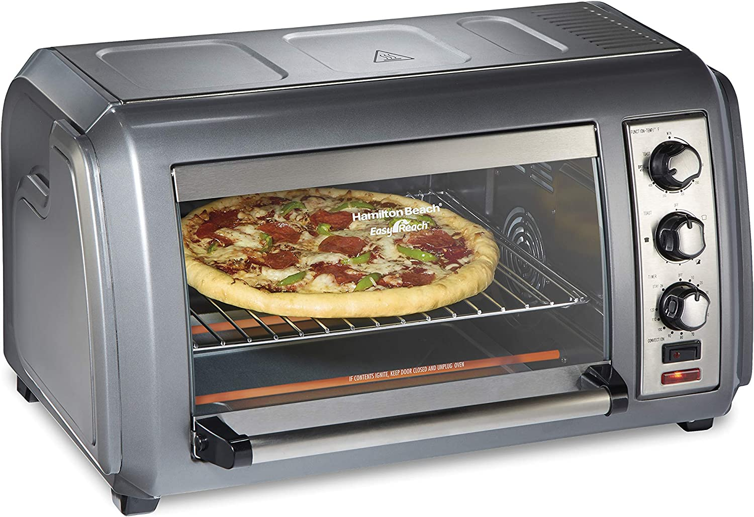 Hamilton Beach Countertop Convection Toaster Oven with Easy Reach Roll-Top Door, 6-Slice, Stainless Steel (31434)