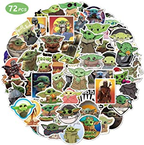 72 Pcs Baby Yoda Merchandise Stickers, The Child Mandalorian Star Wars Decal for Hydro Flask Laptop Mug Car Cup Computer Guitar Skateboard Luggage Bike Bumper, Funny Unique Gifts for Kids Adult Teen