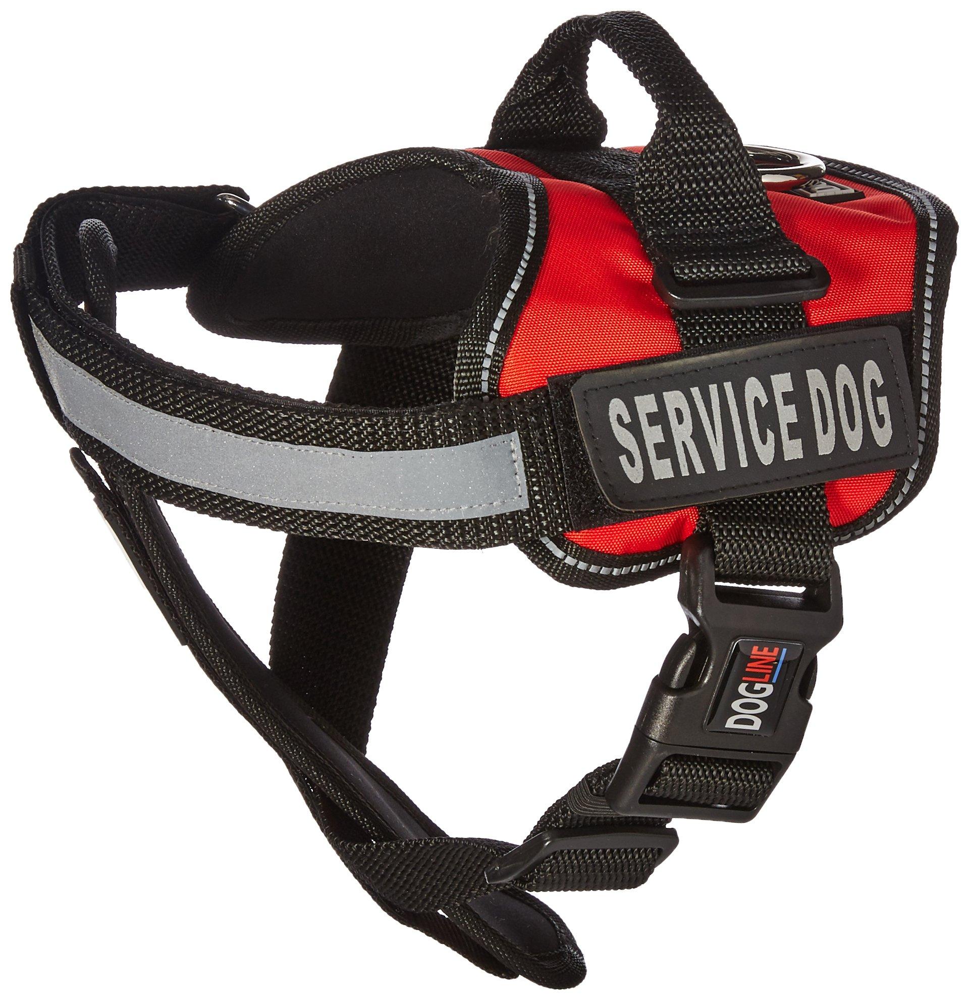 Dogline Unimax Service Dog Vest and Free Service Dog ID Badge with ADA Law, Medium, Red