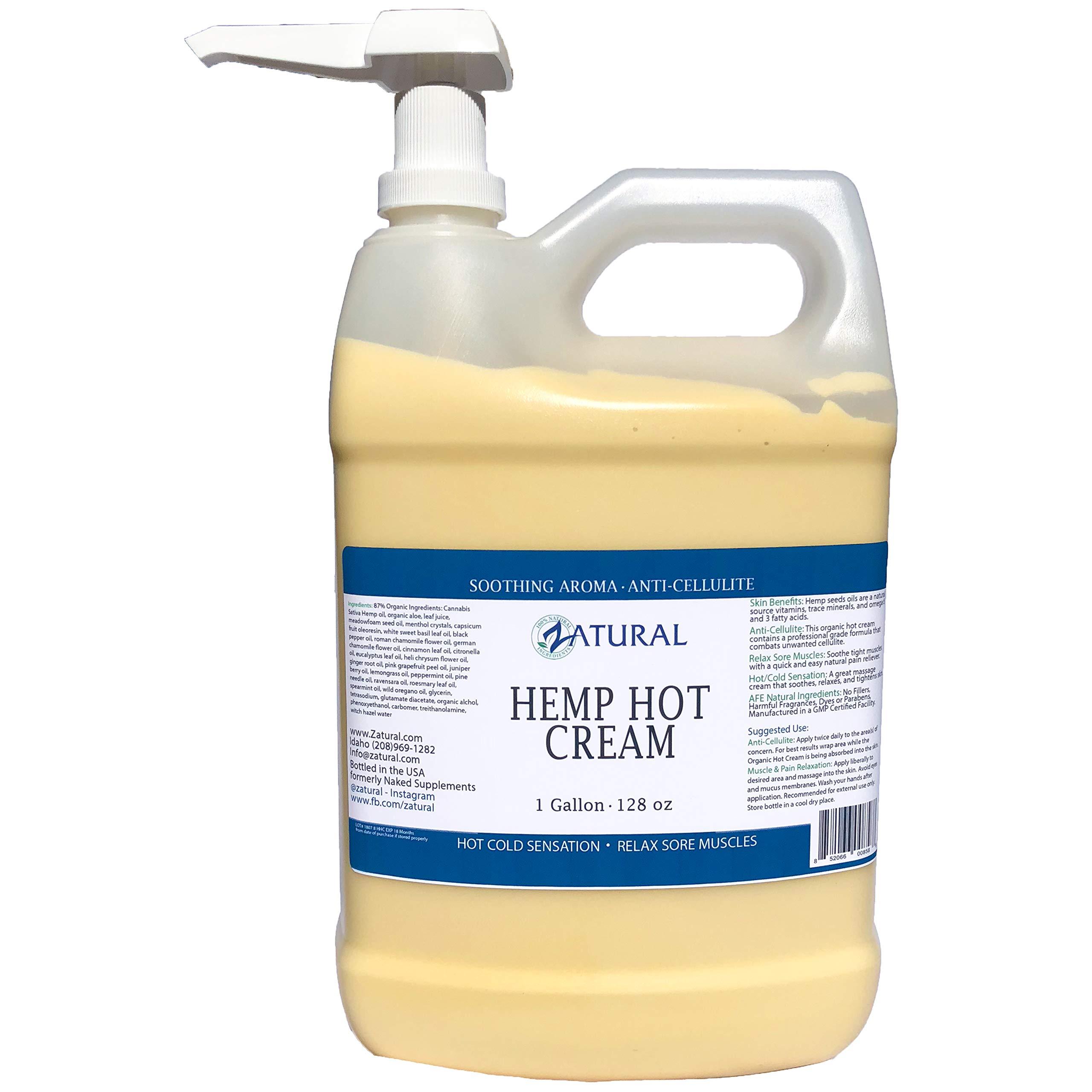 Hemp Hot Cream-Hemp Oil-Organic Hot Cream-Anti Cellulite-Muscle Cream-Pain Support (1 Gallon)