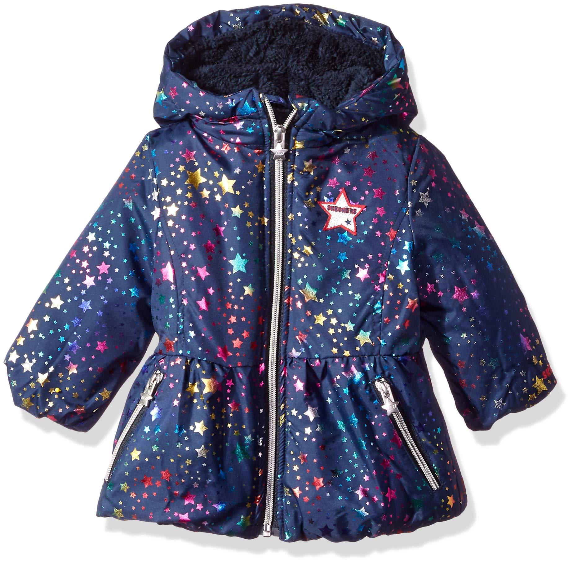 Skechers Baby Girls Heavyweight Warm Jacket, Rainbow Stars, 24M by Skechers
