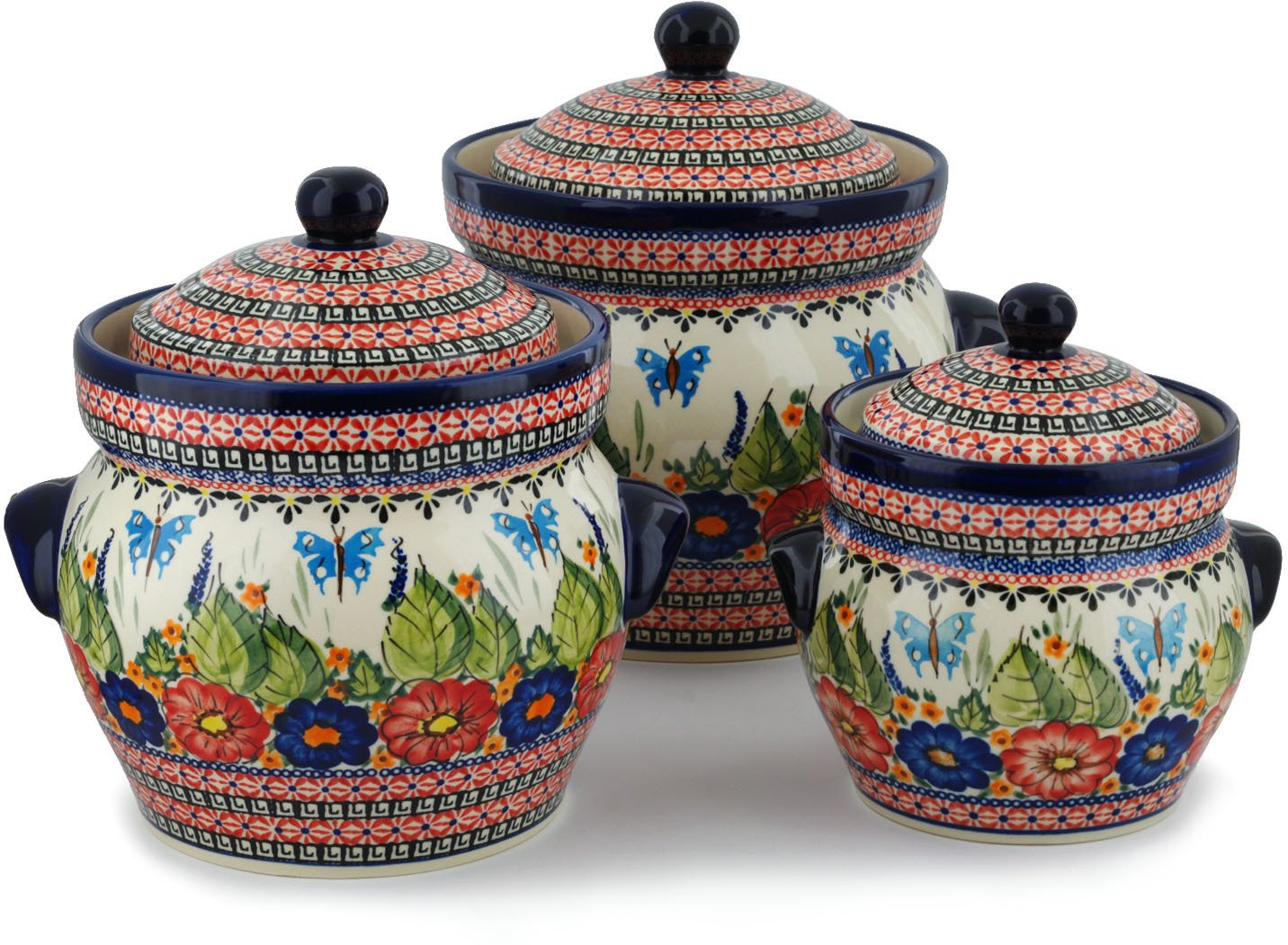 Polish Pottery Set of 3 Jars 10-inch Spring Splendor UNIKAT by Polmedia Polish Pottery