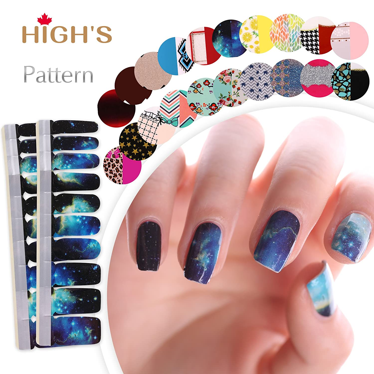 HIGH'S Upgrade EXTRE ADHESION Nail Wraps Decals Art Transfer Sticker Collection Manicure DIY Fullnail Polish patch Strips for Wedding, Party, Shopping, Travelling, 20pcs(Salmon) HIGH' S
