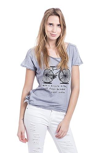 Abbino 5597B T-Shirts Tops para Mujeres - Hecho en ITALIA - 5 Colores - Entretiempo Primavera Verano...