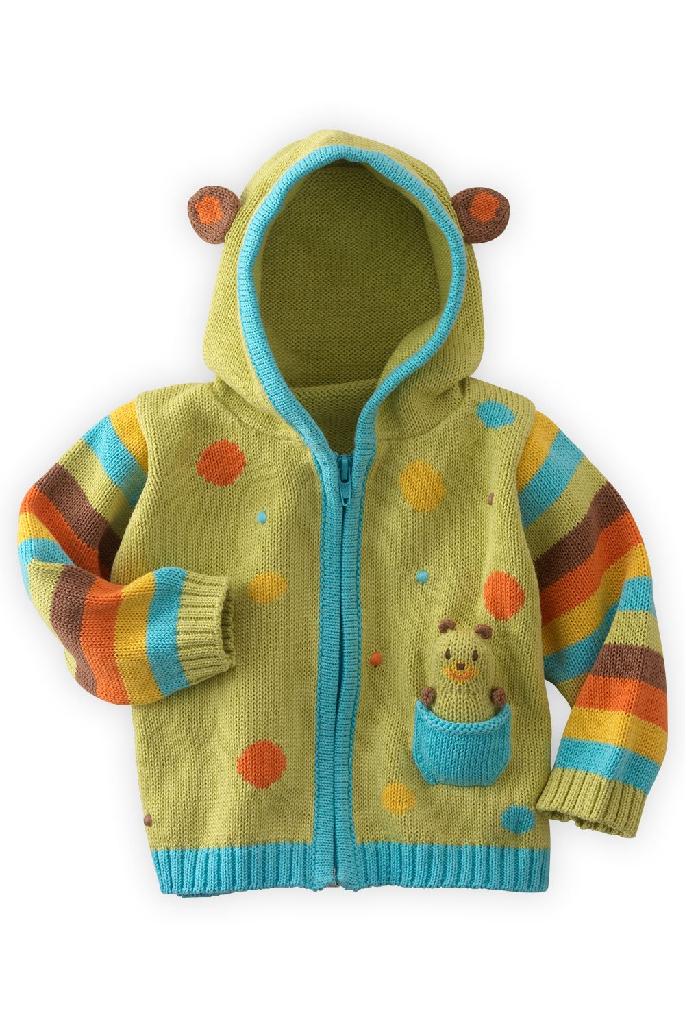Joobles Organic Baby Cardigan Sweater - Huggy The Bear (12-18 Mos) Green by Joobles