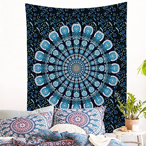 Jiamingyang Popular Indian Wall Hanging Elephant Flower Tapestry Psychedelic Bohemian Tapestries Large 80 x 60 , GreenPeacock
