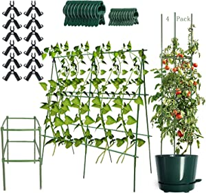 Tomato Cages, 3-Pack/4-Pack Solid Plastic High Tomato Stakes with Steel Core 47.2 Inch Tomato Plant Support (4 Pack+12 Connecting Rod+20 Clips)