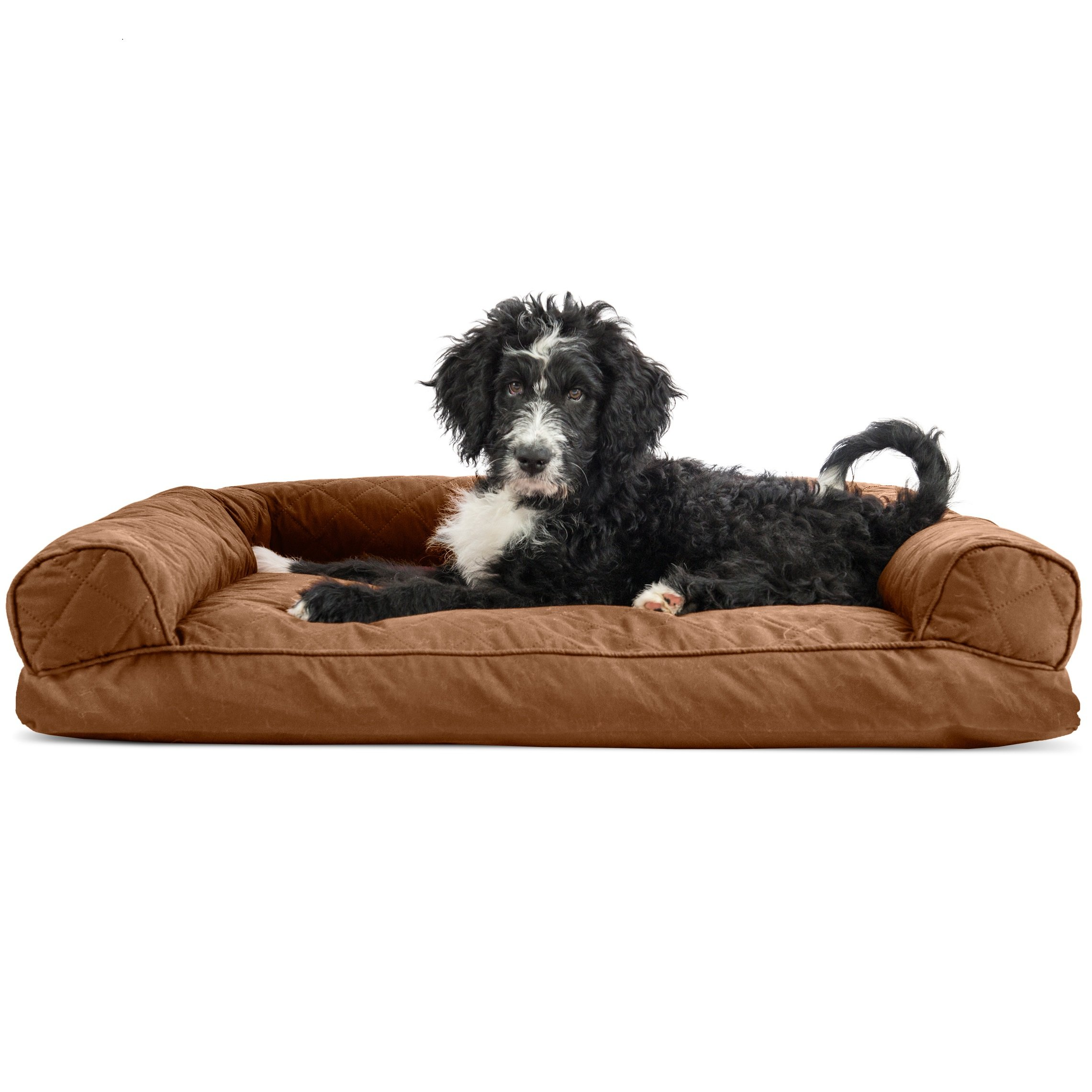 Medium 1 Piece Brown Color Quilted Pillow Sofa Style Pet Bed Dog Cat Kitten Puppy Doggy Animal Four Legged Superbly Snuggly Beautiful Soft Cozy Luxurious Comfortable Easy Feel Relax