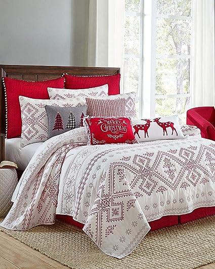Amazoncom Red White Luxury Snowflake Poinsettia Christmas Quilt