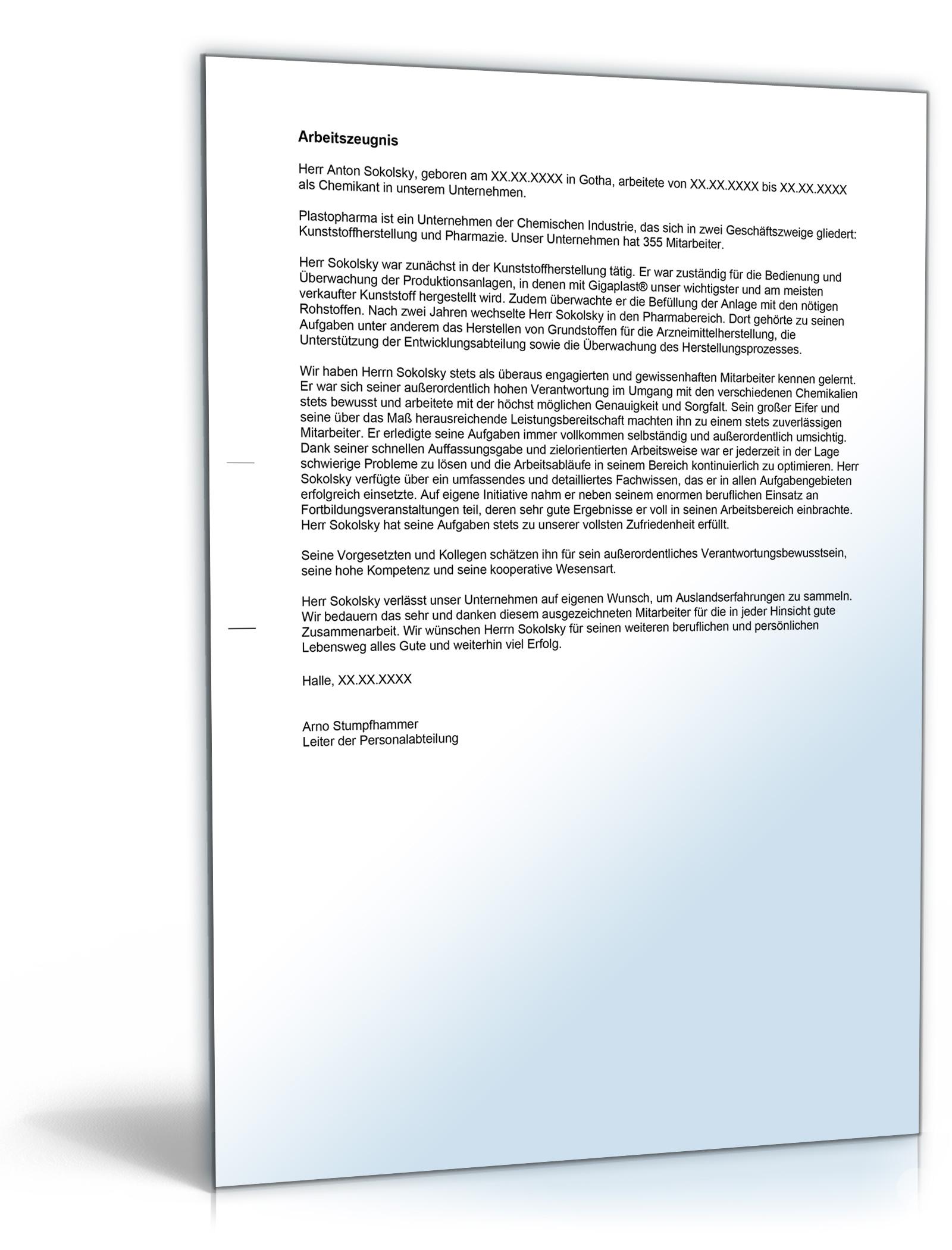 arbeitszeugnis chemikant note eins word dokument amazonde software - Bewerbung Chemikant