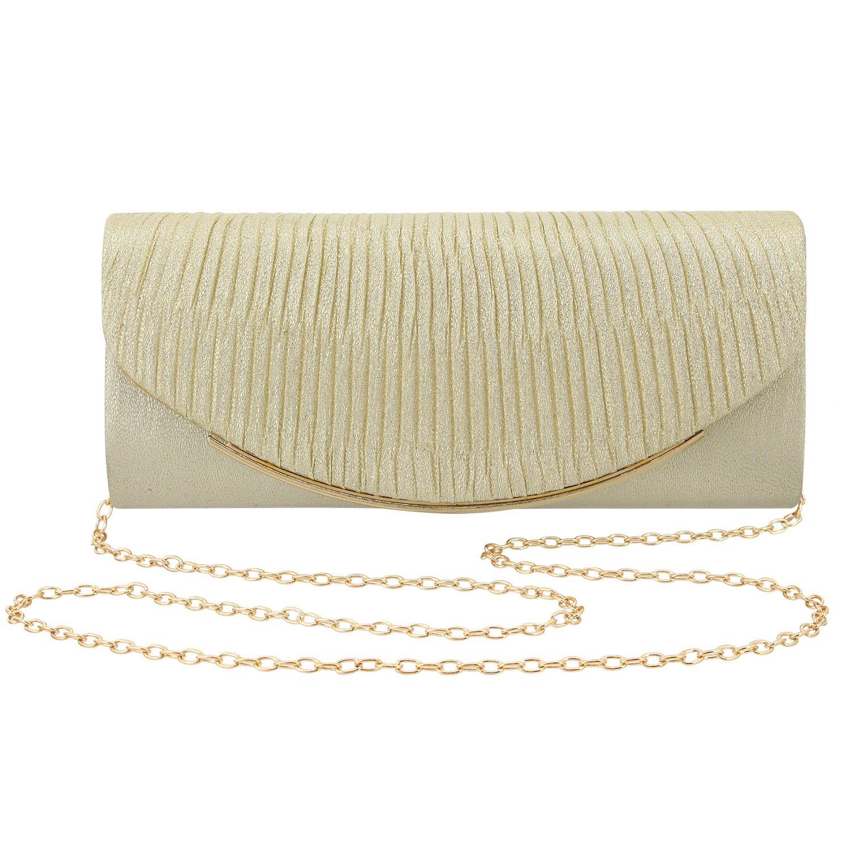 Gabrine Womens Evening Shoulder Bag Handbag Clutch Purse Shiny Fabrics Pleated Satin for Wedding Party Prom(Gold)