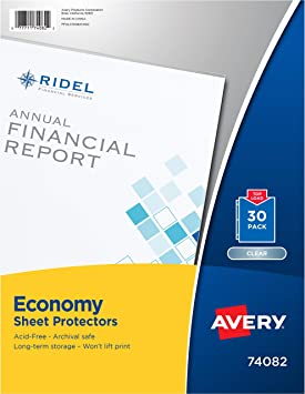 Amazon Com Avery Economy Sheet Protectors Acid Free Pack Of 30 74082 Clear Page Protectors Office Products