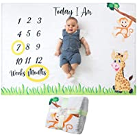 Baby Monthly Milestone Blanket | for Boy or Girl, Unisex | Month Blanket Baby for Pictures | Jungle Safari, Giraffe & Monkey Theme | Personalized Shower Gifts New Moms | Track Age & Growth