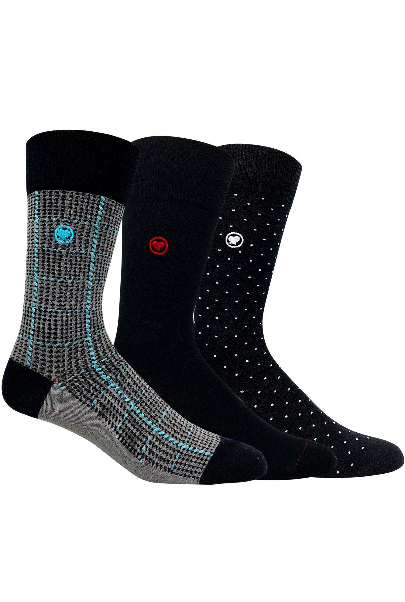LOVE SOCK COMPANY Black Organic cotton men's dress socks bundle. 3 Premium black socks solid, polka dots and houndstooth patterned socks set by LOVE SOCK COMPANY (Image #1)