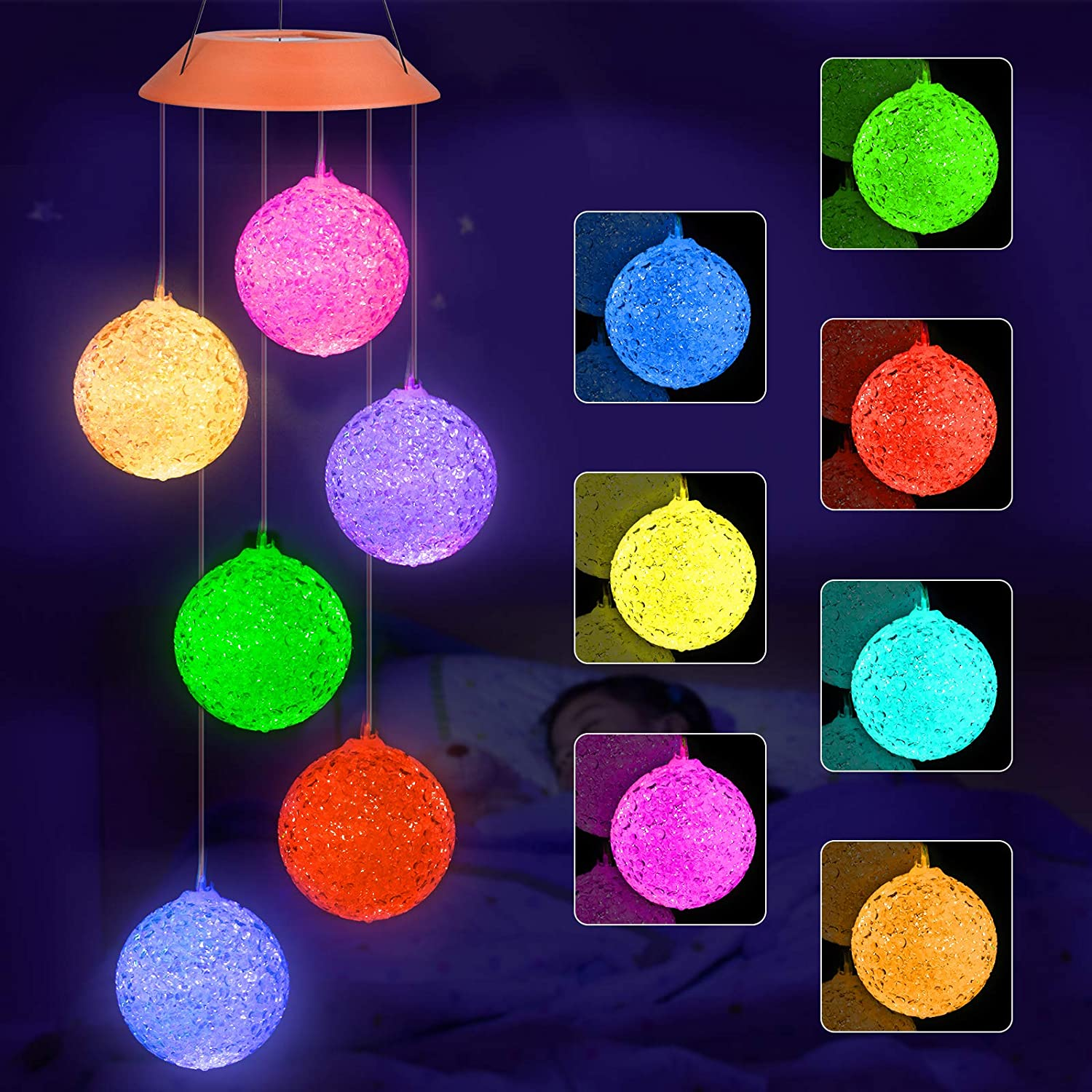 Ninonly Solar Led Crystal Ball Wind Chime, Automatic Light Changing Color Mobile Hanging Wind Chime for Patio Yard Home Garden Night Decoration