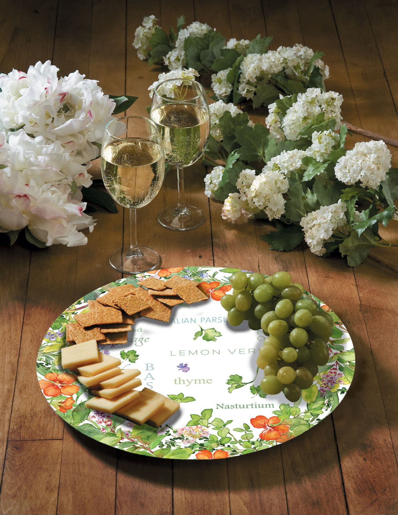 CounterArt Culinary Herbs Glass Lazy Susan Serving Plate, 13''