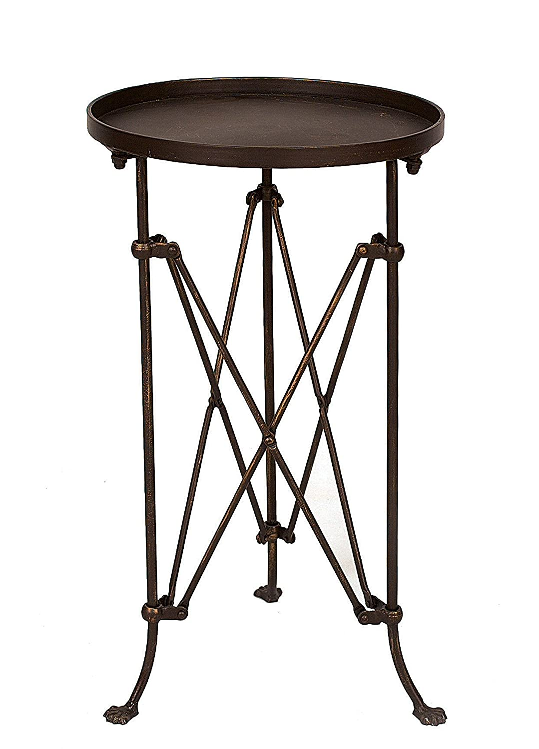 Round bronze accent table with accordion style base and little claw feet - a chic side table for living rooms, bathrooms, bedrooms and beyond.