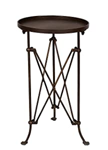 """Creative Co-op Round Metal Accent Table, 25"""", Bronze"""