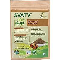 SVATV Organic Triphala Powder 1/2 LB, 08 oz, 227g USDA Certified Organic- Biodegradable Resealable Zip Lock Pouch - Balancing Formula for Detoxification & Rejuvenation