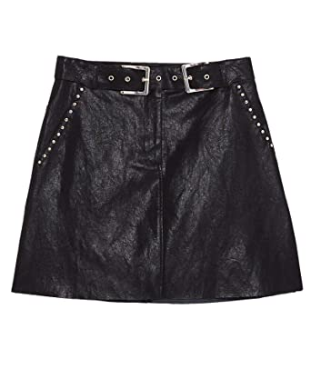 6e4fba10 Zara Women Studded Faux Leather Mini Skirt 3046/025 Black at Amazon ...