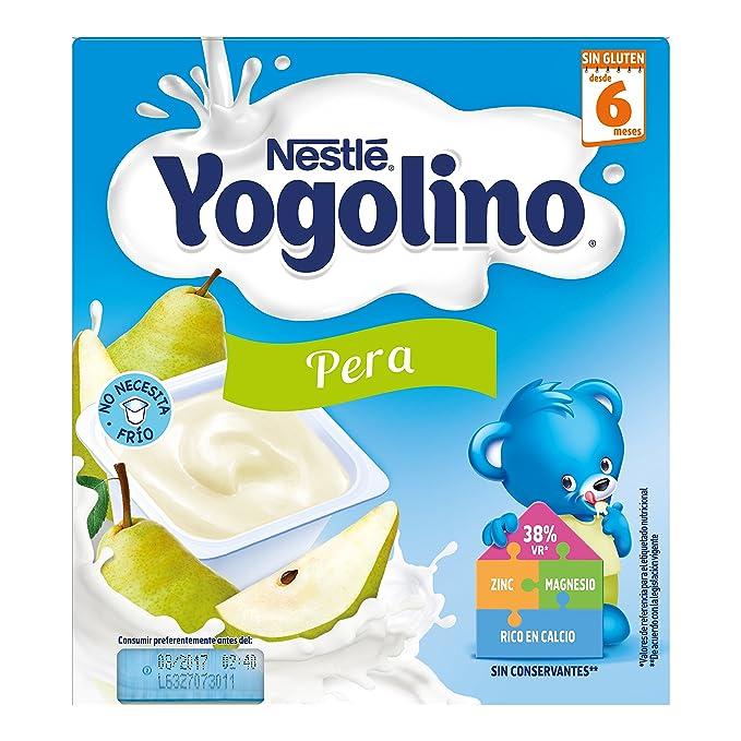 Nestlé iogolino Alimento infantil, leche fermentada con puré de pera - Paquete de 4 x