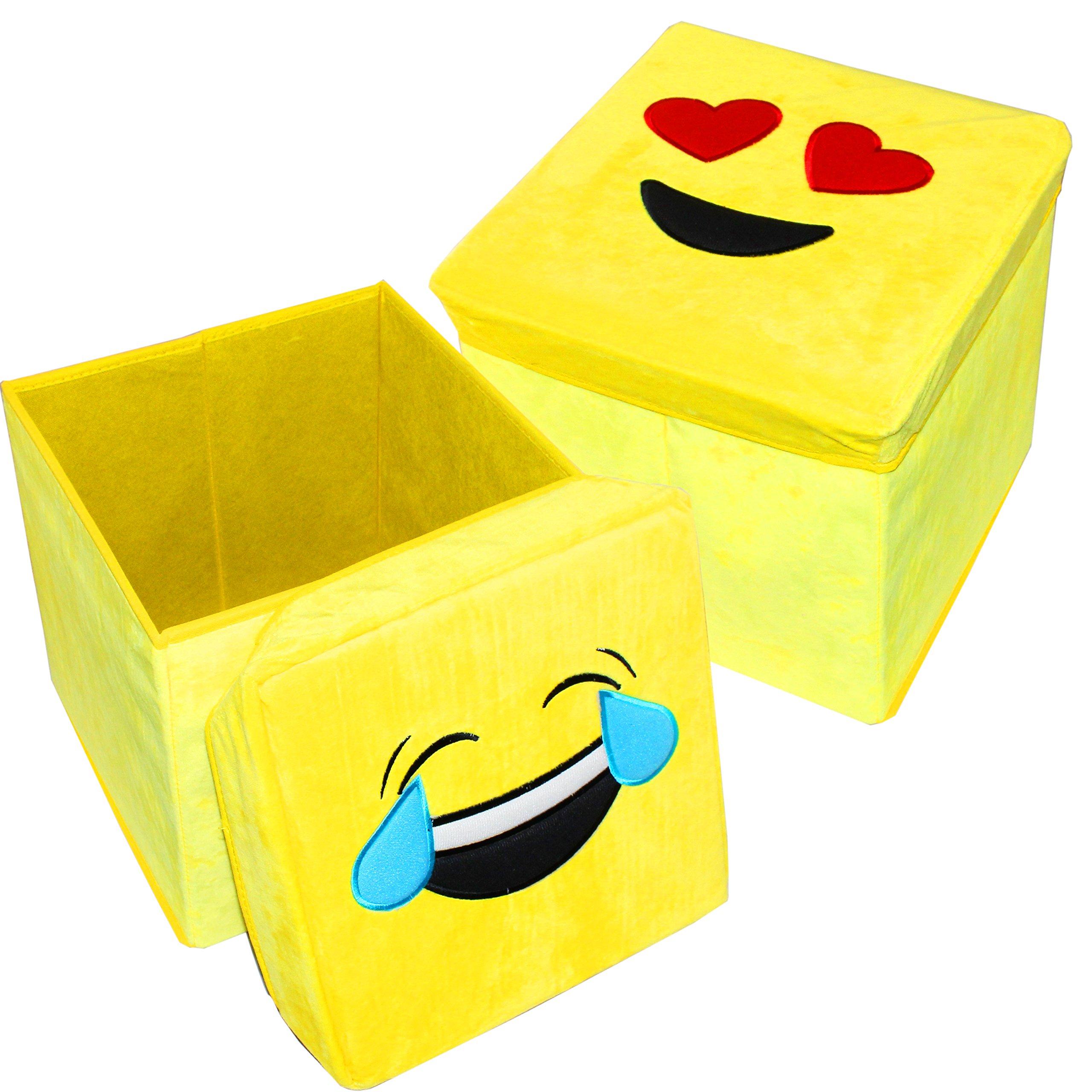 Joyin Toy Pack of 2 Emoji Toy Storage Chest Collapsible Folding Organizer Storage Ottoman Children Seat