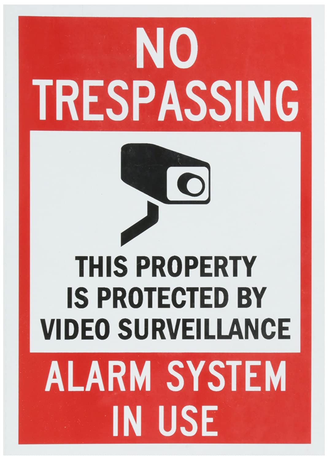 SmartSign Adhesive Vinyl Label, Legend No Trespassing Alarm System In Use with Graphic, 5 high x 3.5 wide, Black/Red on White Lyle Signs