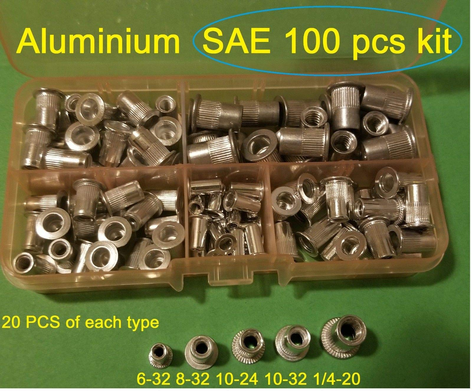 100 Pcs SAE Rivet Nut Rivnut Aluminum Assort Kit 6-32 8-32 10-24 10-32 1/4-20