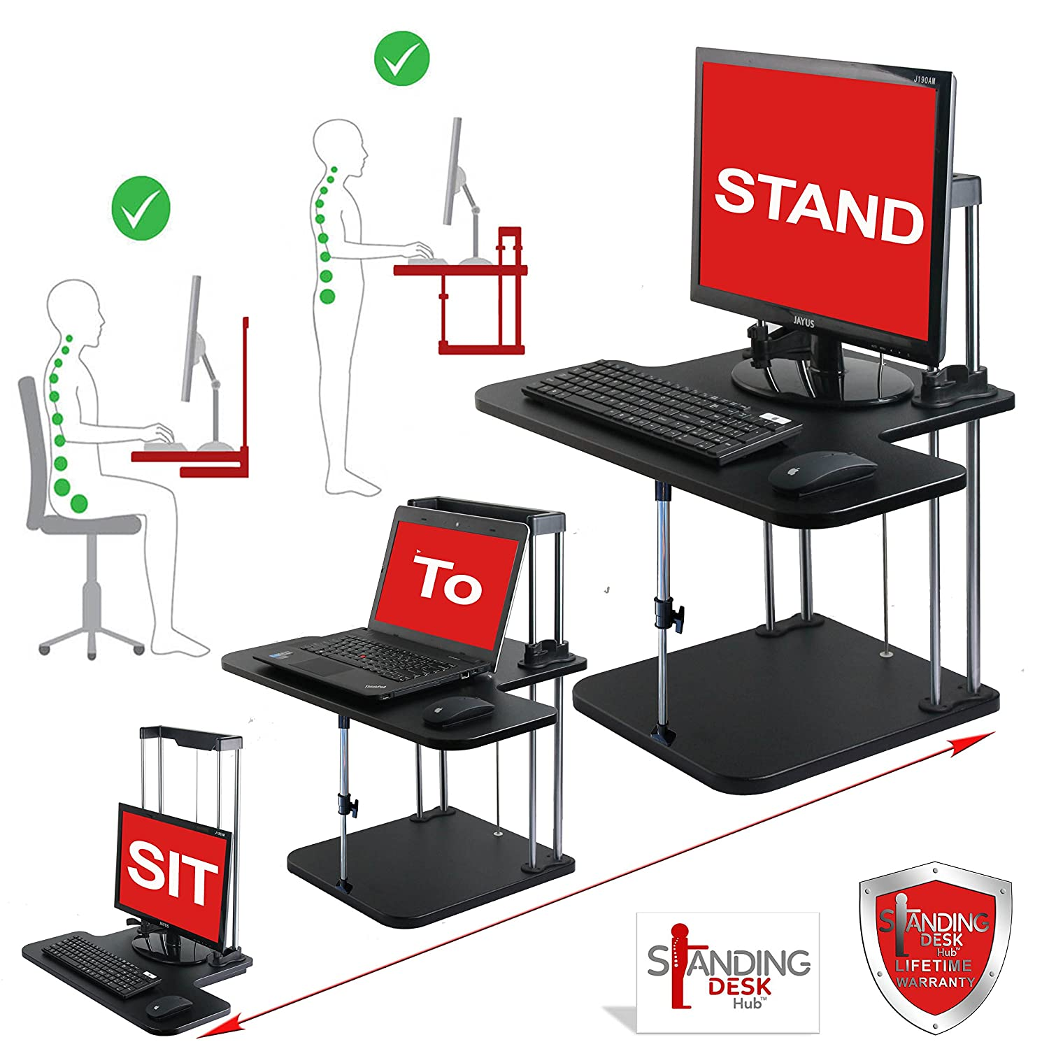amazoncom standing desk hub sit stand desk converter adjustable to any height pro uplift computer for home and office use plus limited