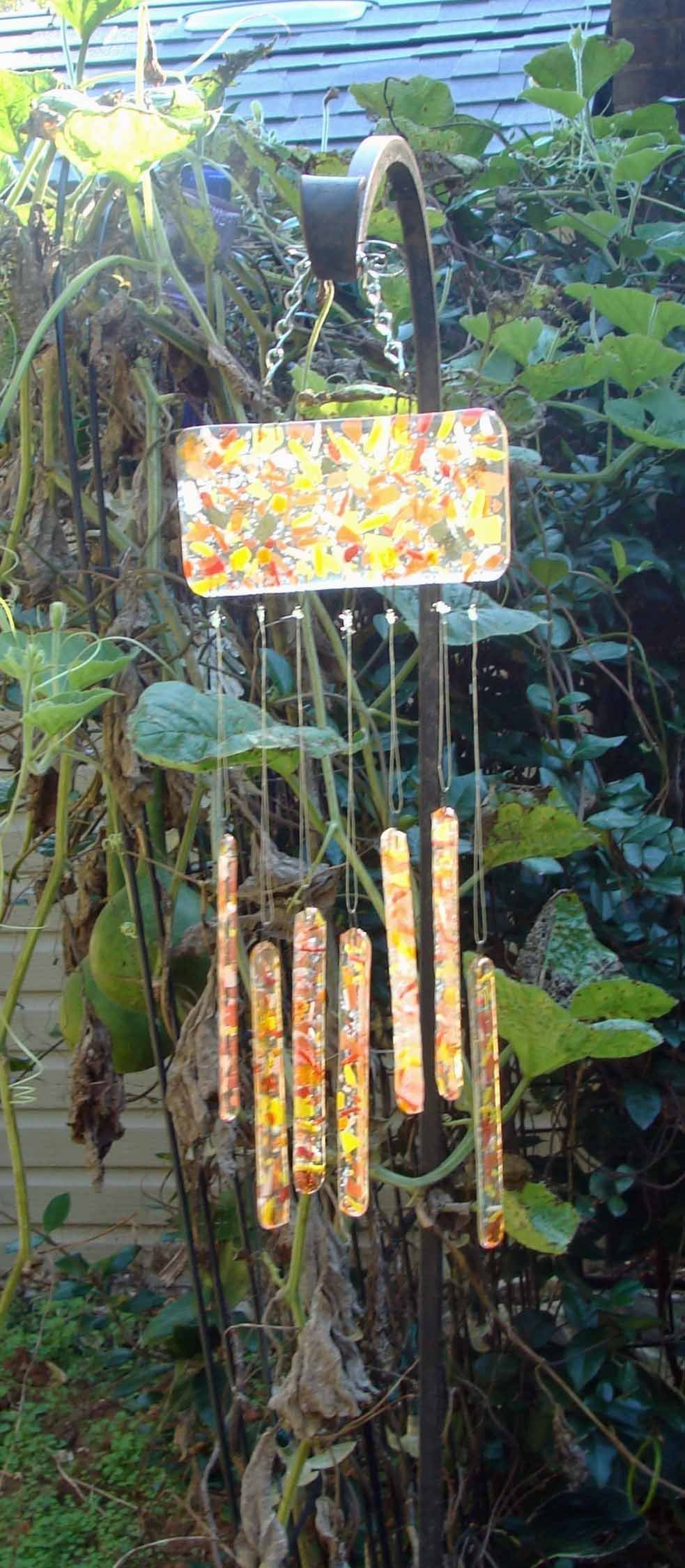 Autumn Colors Wind Chime - Small Handmade Fused Glass Garden Chimes Indoor  Mobile