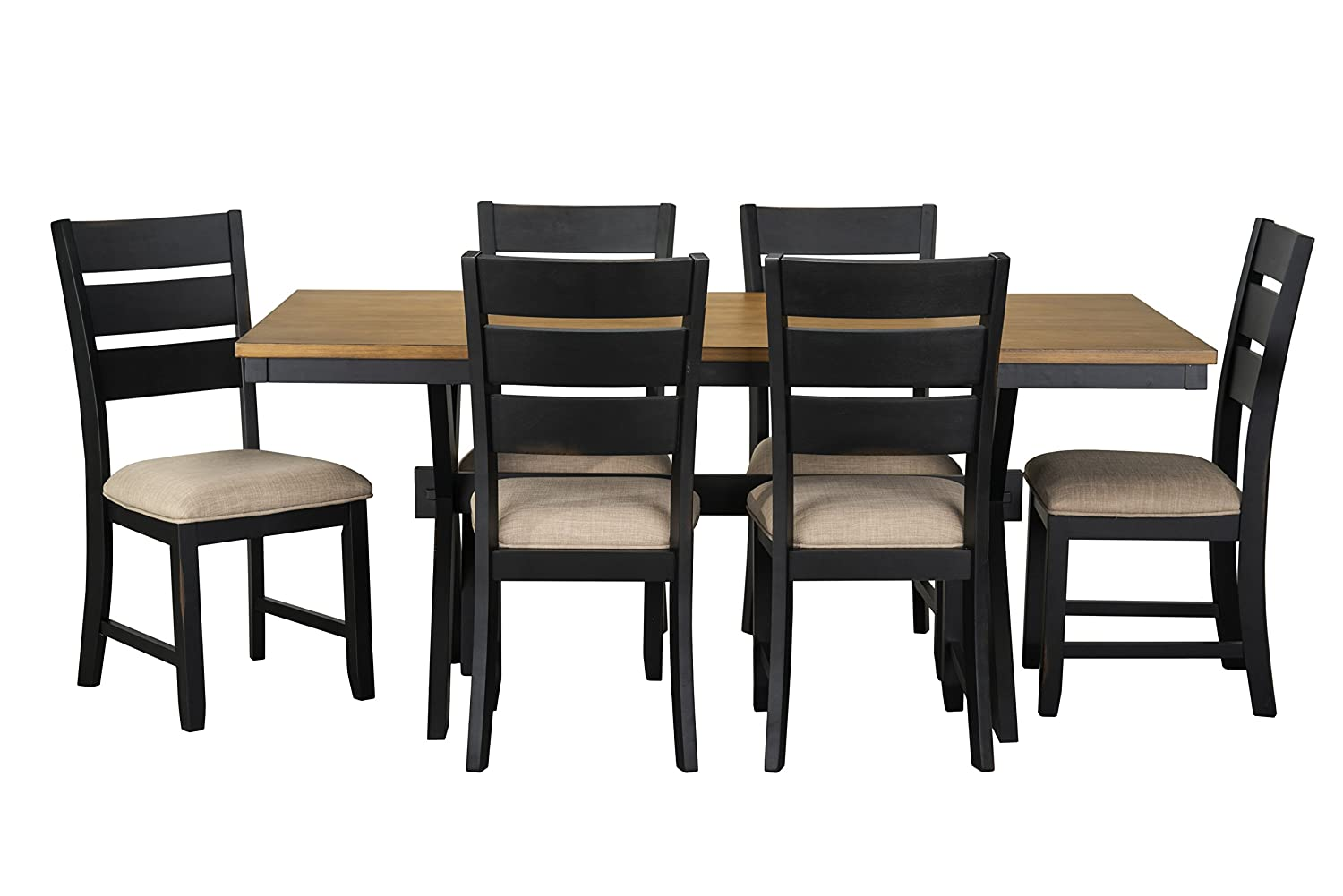 Attrayant Amazon.com   Standard Furniture Braydon Dining Table And Six Chairs Set,  Distressed Brown Top, Black Base   Table U0026 Chair Sets