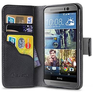 free shipping 7df54 c516c HTC One M9 Case, [Wallet Case] i-Blason **KickStand** HTC One Hima M9 Case  [Kickstand] Leather Cover with Credit Card ID Holders (Black) (Black)