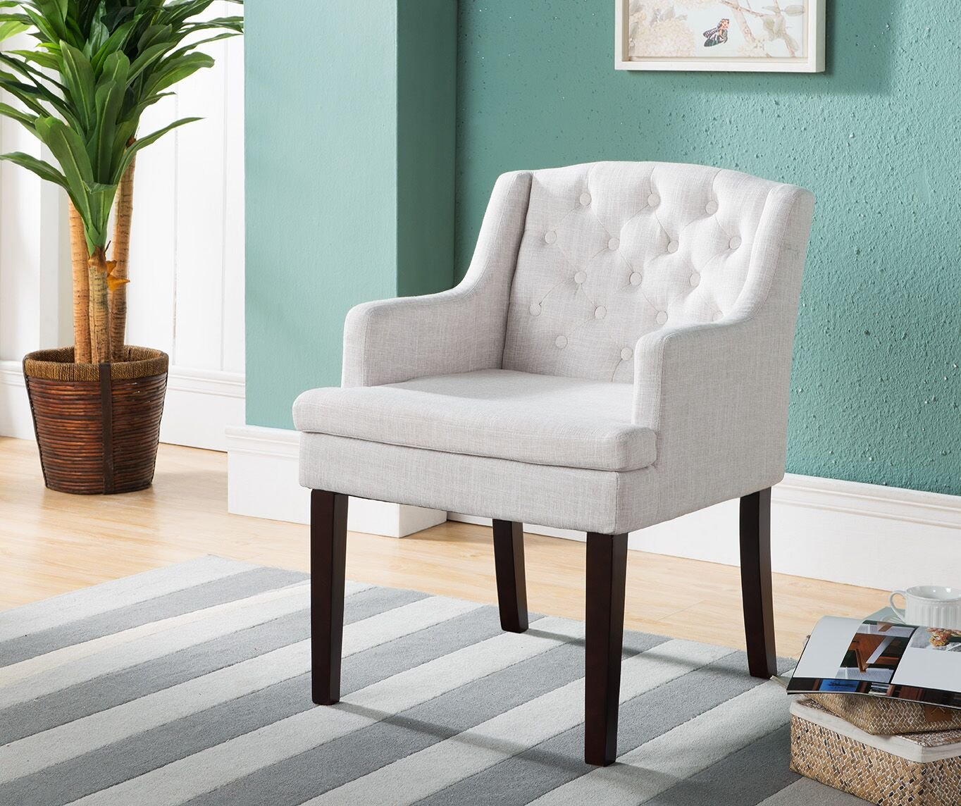 Kings Brand Furniture Tufted Back Accent Chair with Arms, Cream White/Cherry