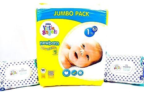 ASDA Little Angels Pañales para recién nacidos, tamaño 1 Jumbo Pack ...