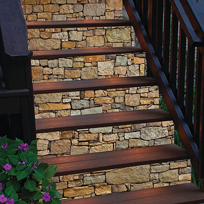 3D Brick Stairs Decorative Stickers Self-Adhesive Stone Art Staircase Decals Mural Decor Wallpaper Removable Wall Decal Home Decor (Stairs Sticker)