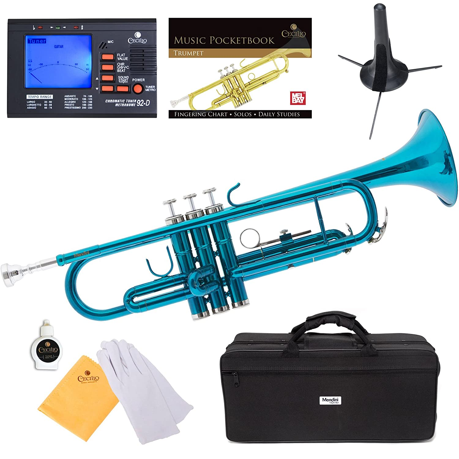 Mendini MTT-SB Sky Blue Lacquer Brass Bb Trumpet + Tuner, Case, Stand, Mouthpiece, Pocketbook & More - MTT-SB+SD+PB+92D Cecilio Musical Instruments