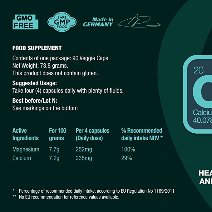 CALCIUM & MAGNESIUM - Mejor absorción de calcio, gracias al magnesio. Dosis de 235 mg Ca y 250 mg Mg. Apoya los huesos, el sistema nervioso, los músculos.